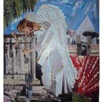 Autore : Roberto Esposito - Titolo: L'angelo del dolore - Tecnica: Collage su tavola - Dimensioni: 42x31 cm