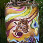 Autore : Marzia Attaguile - Titolo: Felinità - Tecnica: Olio su tela contornato da intrecci di spago e inserti di legno - Dimensioni:41,50x47 cm