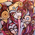 Autore : Adelaide Scavino - Titolo: La madre e le due figlie - Tecnica: Acrilico su tela intelaiata - Dimensioni: 60x60x4,5