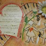 Autore : Maria Grazia Algisi - Titolo: Amore e musica 2012 - Tecnica: Mista - Dimensioni: 30x40 cm