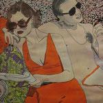 Autore : Letizia Malpassi - Titolo: L'attrice e lo gigolò - Tecnica: Tempera e china su foglio cartonato - Dimensioni: 50x70 cm