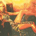 Autore : Silvia Prampolini - Titolo: C. Blanchett - Tecnica: Olio su tela con inserti in foglia d' oro - Dimensioni: 60x80 cm