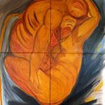 Autore : Marisa Traettino - Titolo: Abbraccio : omaggio a Tiziano - Tecnica: Olio su tela - Dimensioni: 160x180 cm