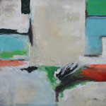 340 1702, Öl und Acryl auf Leinwand, Herta Reitz, 100 x 100 cm