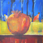 089 Paradiesapfel 2, Acryl auf Leinwand, Brigitte Reich, 60 x 60 cm