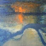 139 Spiegelung, Mischtechnik auf Leinwand, Ilse Leineweber, 80 x 100 cm