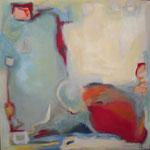 278 Mobiles Rot II, Acryl auf Leinwand, Herta Reitz, 100 x 100 cm