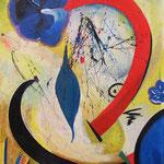 Komposition mit rotem Bogen, Acryl auf Hartfaser, Herta Reitz, 67 x 95 cm