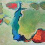 276 im Verborgenen, Öl und Acryl auf Leinwand, Herta Reitz, 76 x 116 cm