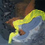 310 Mit Gelb, Mischtechnik auf Leinwand, Ilse Leineweber, 50 x 50 cm