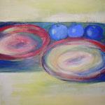 074 Drei blaue Äpfel, Acryl auf Leinwand, Brigitte Reich, 60 x 60 cm