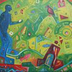 313 Blauer Engel I, Acryl auf Leinwand, Nicole Wächtler, 60 x 100 cm