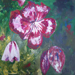 048 Clematis, Acryl auf Leinwand, Ingrid Stolzenberg, 80 x 80 cm