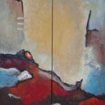 272 Aufwärts, Öl und Acryl auf Leinwand, 2-teilig, Herta Reitz, je 140 x 45 cm