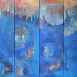 269 Ohne Titel, Acryl auf Leinwand, 4-teilig, Brigitte Reich, je 130 x 40 cm