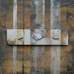 087 Antik III, Collage auf Leinwand, Karin Lesser-Köck, 50 x 50 cm