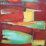320 Tief im Rot III, Öl und Acryl auf Leinwand, Herta Reitz, 70 x 50 cm