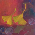 073 Gingkoblätter I, Acryl auf Leinwand, Brigitte Reich, 40 x 40 cm