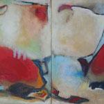 321 Dialog, Öl und Acryl auf Leinwand, 2-teilig, Herta Reitz, je 100 x 80 cm