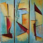 218 Gefunden I-III, Acryl auf Leinwand, Herta Reitz, je 100 x 30 cm