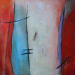 035 Gefunden, Öl und Acryl auf Leinwand, Herta Reitz, 58 x 58 cm