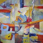 153 Ohne Titel, Acryl auf Leinwand, Herta Reitz, 3-teilig je 140 x 40 cm