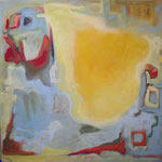 277 Mobiles Rot I, Acryl auf Leinwand, Herta Reitz, 100 x 100 cm