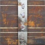 087 Antik I, Collage auf Leinwand, Karin Lesser-Köck, 50 x 50 cm