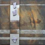 087 Antik II, Collage auf Leinwand, Karin Lesser-Köck, 50 x 50 cm