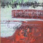 103 Pfarrers Ende, Collage auf Leinwand, Wolf Pannitschka, 80 x 40 cm