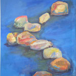 166 Steine aus Wasserserie, Acryl auf Leinwand, Brigitte Reich, 120 x 90 cm