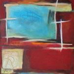 319 Tief im Rot II, Öl und Acryl auf Leinwand, Herta Reitz, 70 x 50 cm