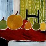 055 Äpfel und Birnen Interieur, Acryl auf Leinwand, Brigitte Reich, 100 x 100 cm