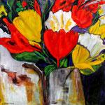 083 Tulpen, Acryl auf Leinwand, Gudrun Voigt, 80 x 80 cm
