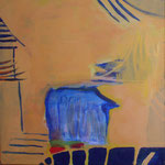 256 Blaues Haus, Acryl auf Leinwand, Brigitte Reich, 50 x 50 cm