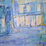 004 BlaueStunde, Acryl und Pastell auf Leinwand, Gitta Junge, 80 x 100 cm