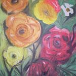 246 Blumen 2, Acryl auf Leinwand, Marie-Luise Neugebauer, 120 x 100 cm