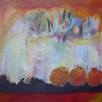 255 Granatäpfel, Acryl auf Leinwand, Brigitte Reich, 40 x 40 cm