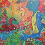 312 Blauer Engel II, Acryl auf Leinwand, Nicole Wächtler, 80 x 100 cm