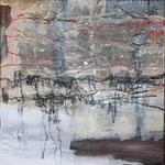 240 Engelsgesang, Collage auf Leinwand, Wolf Pannitschka, 80 x 40 cm