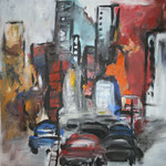 261 Großstadt, Acryl auf Leinwand, Heide Göbel, 80 x 80 cm