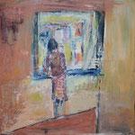 146 Frau am Fenster, Mischtechnk auf Leinwand, Gitta Junge, 60 x 60 cm
