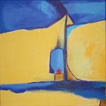 209 Eine rote Kugel, Acryl auf Leinwand, Brigitte Reich, 70 x 70 cm