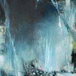 092 Edelstein, Collage auf Leinwand, Karin Lesser-Köck, 50 x 50 cm