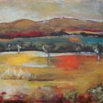 001 Taunusblick I, Öl und Acryl auf Leinwand, Herta Reitz, 50 x 70 cm