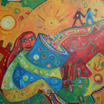 314 Frau  mit Krug, Acryl auf Leinwand, Nicole Wächtler, 160 x 100 cm