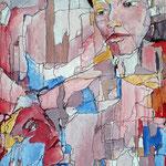 "067 Parlez moi d""Amour, Acryl und Tusche auf Leinwand, ,Gisela Stein, 70 x 50 cm"