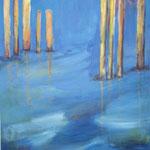 167 Holz aus Wasserserie, Acryl auf Leinwand, Brigitte Reich, 112 x 80 cm
