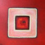 078 Karree in Rot, Öl und Acryl auf Leinwand, Herta Reitz, 110 x 110 cm