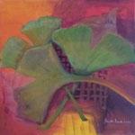 073 Gingkoblätter III, Acryl auf Leinwand, Brigitte Reich, 40 x 40 cm